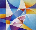 Barche e vela_acrilico su tavola sabbiata _cm 50 x 50