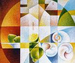 Paesaggio con limoni e chiocciole_acrilico su tela sabbiata_cm.70 x70