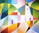 luce nel paesaggio_acrilico su tavola sabbiata_cm.40 x 50