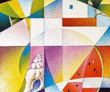 conchiglia nel paesaggio_acrilico su tavola sabbita _cm.50 x 40