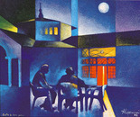 Sotto la luna piena_acrilico su tavola sabbiata cm. 50 x 70