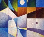 Riflessi notturni nel paesaggio_acrilico su carta vinilica_cm.70 x 50