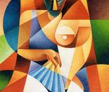 Figura con ventaglio (omaggio a Picasso)_acrilico su tavola sabbiata cm. 100 x 70