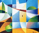 Paesaggio assolato_acrilico su tavola sabbiata_cm.40 x 50