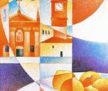 La vecchia chiesa con arance_acrilico su tavola sabbiata cm.70 x 50