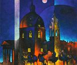 Luna rosa a Superga_acrilico su tavola sabbiata_cm.60 x 60