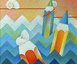 In cordata sulle onde_acrilico su tavola sabbiata cm.50 x 50