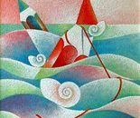Tratto rosso tra le onde_acrilico su tavola sabbiata cm.50 x 50
