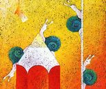 """La """"Prima """" di Sottotraccia_acrilico su sughero cm. 50 x 50"""