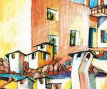 Vecchi tetti a Torino_acquerello e pastelli su cartoncino