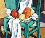 Composizione con sedia verde_olio su tela  sabbiata cm 70 x 50
