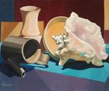 Composizione con caffettiera_olio su tela cm 30 x 40