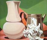 Composizione con vaso , conchiglia,caffettiera_olio su cartoncino telato cm.18 x 25