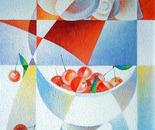 La coppa di ciliegie_acrilico su tavola sabbiata cm. 60 x 40