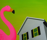 Colonial and Flamingo with Green Sky