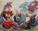 "Breakfast - oil on canvas,35x32"""