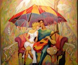Umbrella for Two - oil on canvas,30x36""