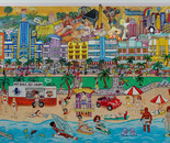 Florida Scenery, Oil on Glass 3D
