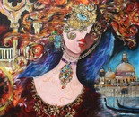"Carnival in Venice 60""x60"" Acrylic on Canvas"
