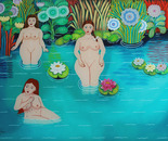 Bathing Beauties, Oil on Glass