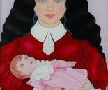 Girl & Doll, Oil on Glass