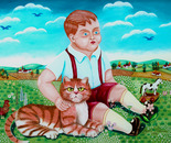 Boy & Cat, Oil on Glass