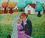 The Wedding, Oil on Glass