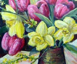 Spring vase of tulips and daffodils