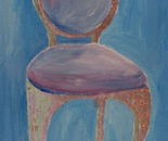 A Chair - blue and bronze/gold