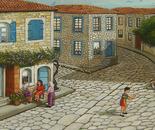 30x90 cm historical stone houses
