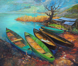 The Boats. oil on canvas. 80 x 90 cm
