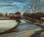 Snow, Pond, Barn