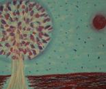 A sakura tree in the night of the fireflies (4)