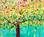 Frühlingsbaum für Glückspilze I, 2011, acrylic on canvas, 110 x 140 cm