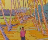 Lao woman on a path