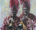 To Surround with Music (2007, Oil on Canvas, 135cm x 110cm)