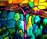 "part from stained glass ""Autumn Landscape"""