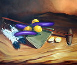 "Still life with Kiowa War club,and a twist of Lemon"" 34x34 O/C"