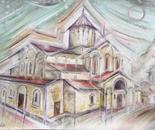 Gelati Cathedral in rain