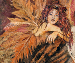 The woodland fairy - Mosaic with leaves and petals