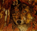 The Wolf - Mosaic with leaves and petals