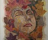The woman tree - Mosaics with leaves and petals