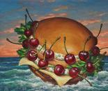 """Drifting bigburger"" - 2013 - fat tempera on canvas - cm 40 x 30"