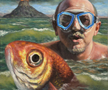 """""""Self portrait with the red fish"""" - 2011 - fat tempera on canvas - cm 40 x 30"""