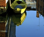 Yellow Boat in Venetian Canal