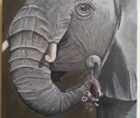 Elephant picking up Mouse SOLD