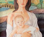 Guarda il figlio che ho tra le braccia è Gesù, il figlio di Dio, il Salvatore -  Tecnica mista acrilico + pastello su foglio murillo, cm 50x90