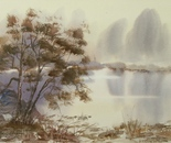 lakeside watercolor landscape 626