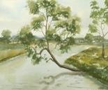 riverside watercolor painting 630