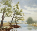 riverside with trees painting 631